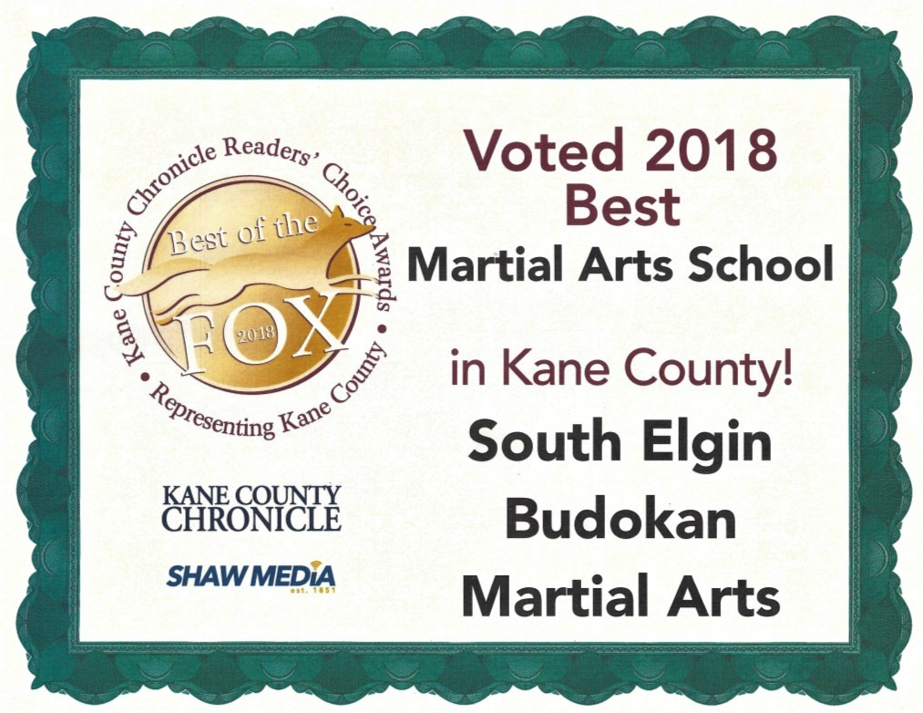 2018 – Budokan again voted THE BEST Martial Arts schools in Kane County